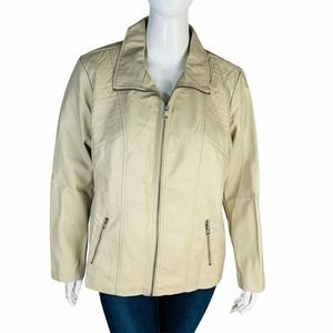 Style And Co  3X Bone Color Jacket Vegan Leather